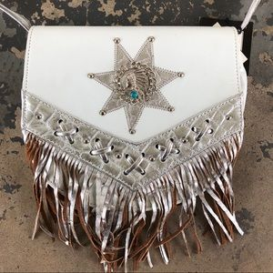 Space Cowgirl Silver Star Leather Fringe Purse